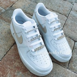 Nike Air Force CUSTOM nude w/ bling/pearl accents